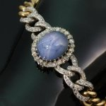 Antique bracelet by Gariod with star sapphire and diamonds
