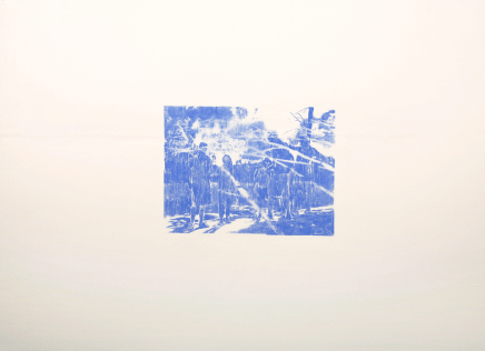 "Top of the World, blue transfer paper on burnished paper, 22"" x 30"", 2011"