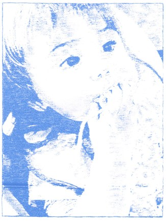 """22 weeks, blue transfer paper on paper, 8"""" x 6"""", 2016"""