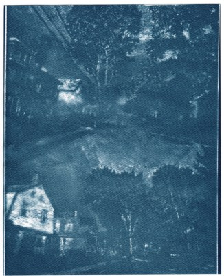 "Highland Ave, cyanotype contact print of graphite drawing on vellum, 10"" x 8"", 2015"