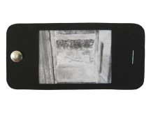"""iPhone 11, graphite on vellum with black paper, staple, and thumbtack, 2.25"""" x 4.75"""", 2014"""