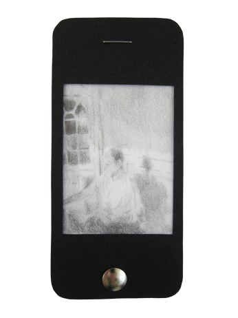 "iPhone 5, graphite on vellum with black paper, staple, and thumbtack, 4.75"" x 2.25"", 2014"