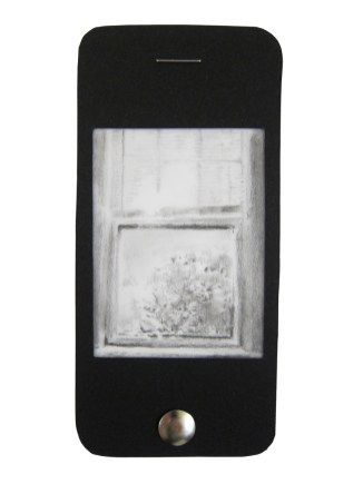 """iPhone 7, graphite on vellum with black paper, staple, and thumbtack, 4.75"""" x 2.25"""", 2014"""
