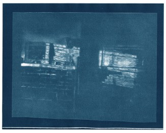 "Mantel cyanotype contact print of graphite drawing on vellum, 8"" x 10"", 2015"