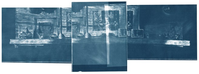 "Mantel refracted, cyanotype contact prints of graphite drawings on vellum, 10"" x 27.5"", 2015"