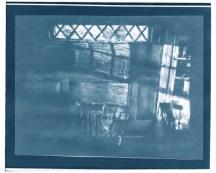 "Napkin, cyanotype contact print of graphite drawing on vellum, 8"" x 9.75"", 2015"