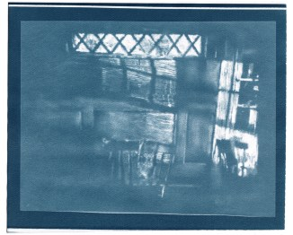 "Napkin, cyanotype contact print of graphite drawing on vellum, 8"" x 9.75"", 2015"