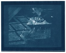 "Ottoman, cyanotype contact print of graphite drawing on vellum, 8"" x 10"", 2015"