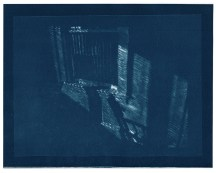 """Rocking chair, cyanotype contact print of graphite drawing on vellum, 7.75"""" x 10"""", 2015"""