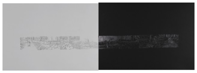 """Ticks and Shoelaces, graphite on paper, 22"""" x 60"""", 2012"""