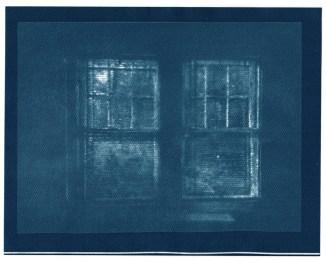 "Windows, cyanotype contact print of graphite drawing on vellum, 7.75"" x 10"", 2015"