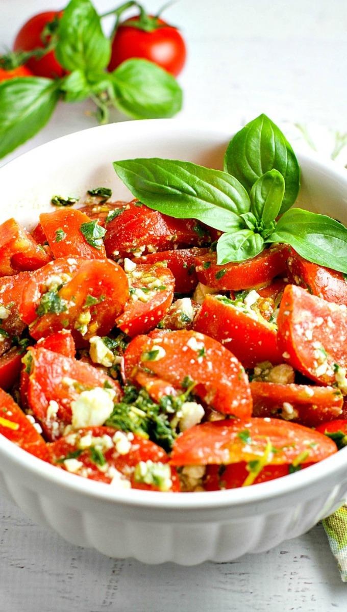 Tomato, Basil and Feta Summer Salad