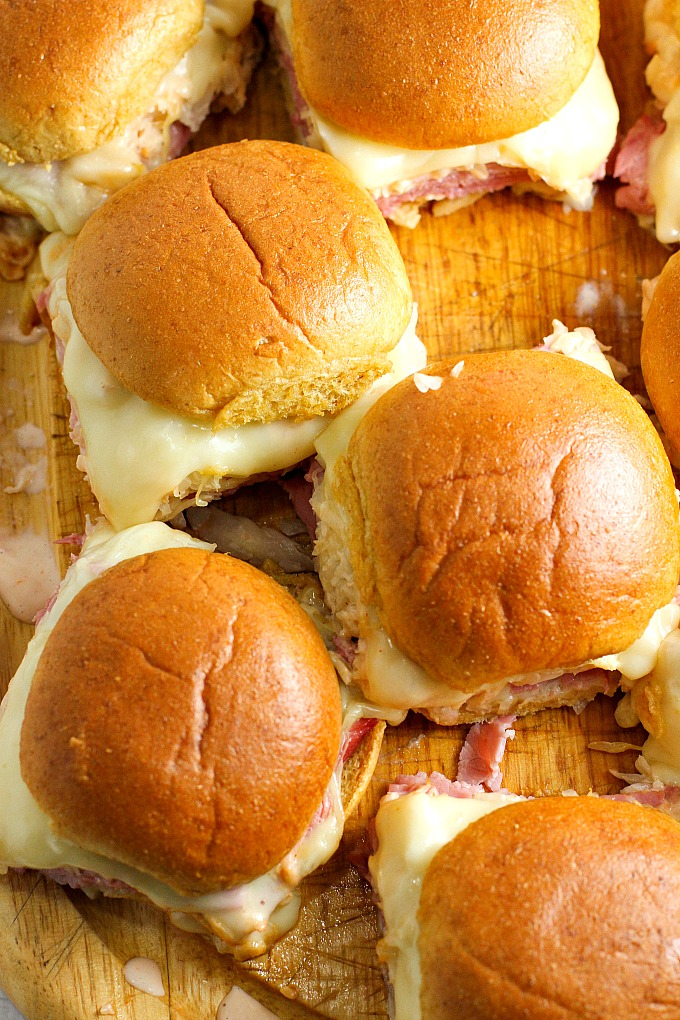 Reuben Sliders with Homemade Russian Dressing - A Dish of ...