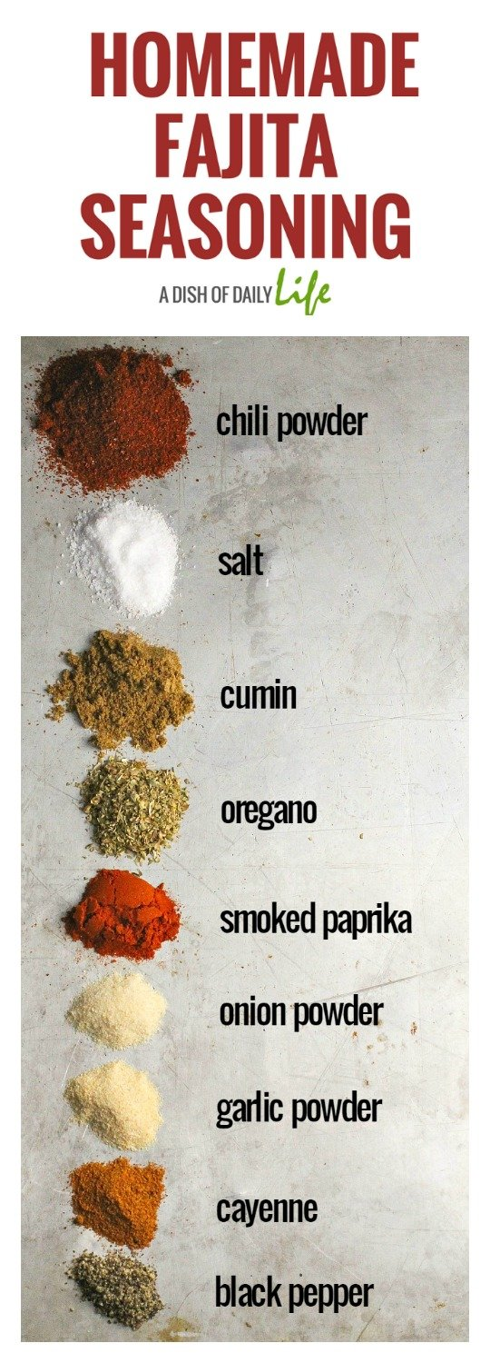 This Fajita Seasoning Recipe is perfect for chicken, beef, shrimp, and vegetables,