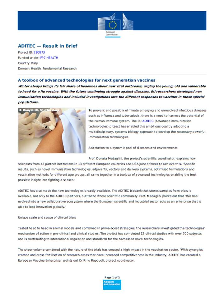 The aditec project results published as success story on the ec the aditec project results published as success story on the ec cordis website maxwellsz