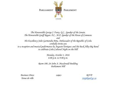 Cuba event hosted by the Speaker of the Canadian Senate and Speaker of the House of Commons