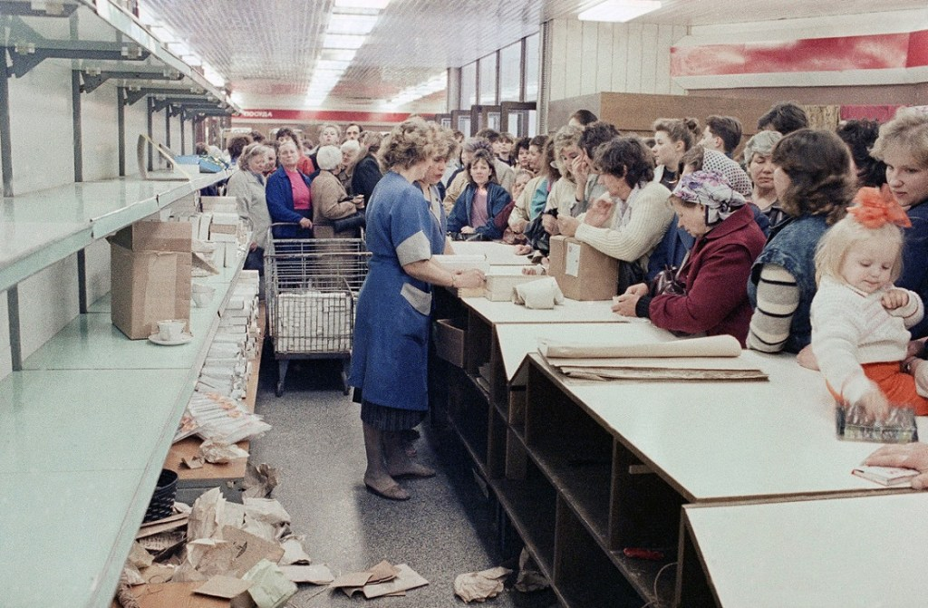 Typical grocery store queue in Vilnius, Lithuania, USSR in 1990.