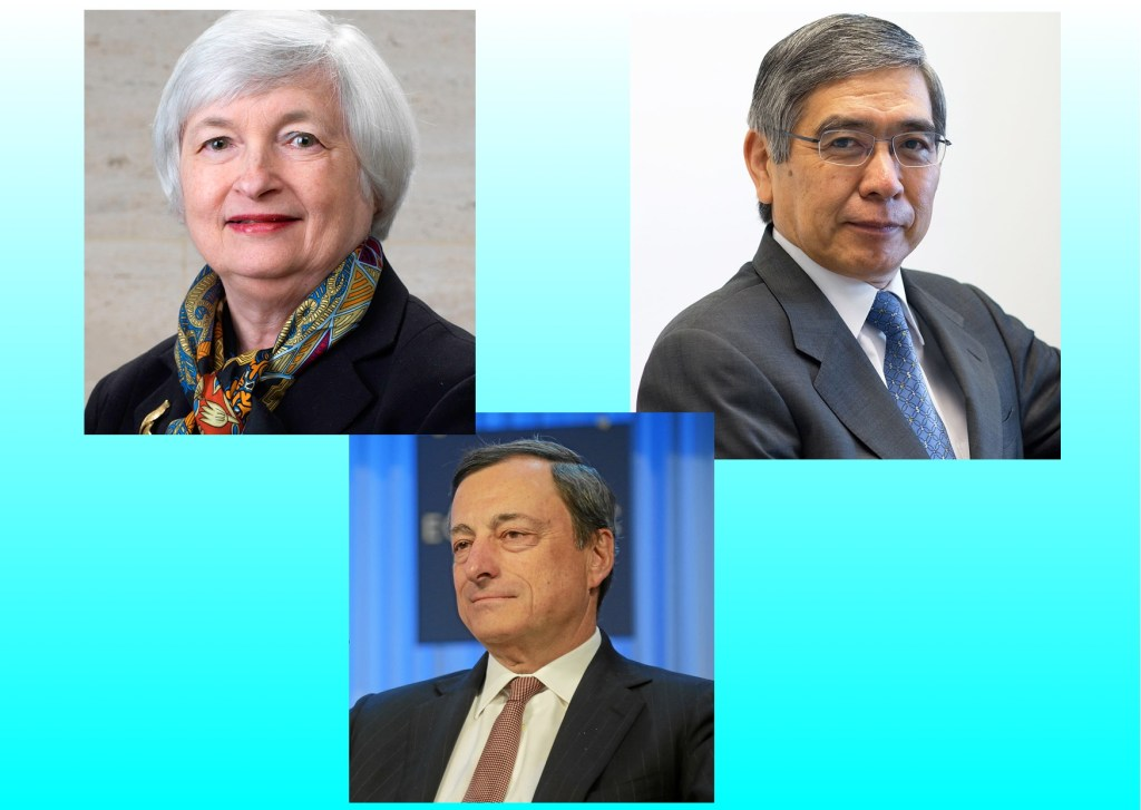 From Top Left Clockwise: Janet Yellen, Federal Reserve Chairman; Haruhiko Kuroda, Governor, Bank of Japan; Mario Draghi, President, European Central Bank