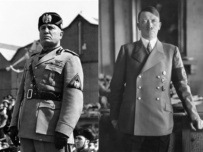 a comparison between the policies of benito mussolini and adolf hitler Start studying comparing italy, germany, and japan learn vocabulary,  led by benito mussolini, fascism was:  developed as the nazi party with adolf hitler,.