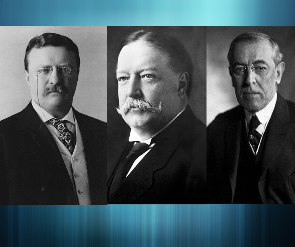 The first three progressive presidents: Theodore Roosevelt, William Howard Taft, and Woodrow Wilson