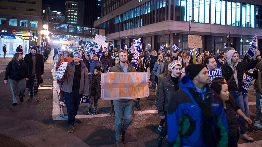 Protest march against the election of Donald Trump in Saint Paul, Minnesota on November 9, 2016