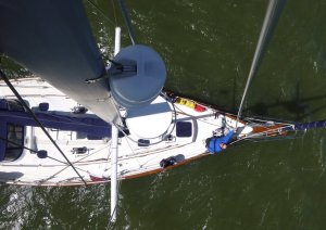Paul below on foredeck - taken by Steve while up the mast checkingt the staysail damage