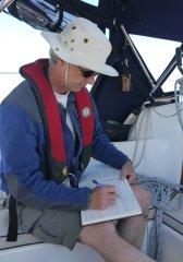 Steve recording details of CPB calls in his logbook