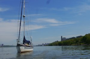 Tai Chi anchored in the Hudson River near 79th Street Boat Basin - a well-earned rest after a fair passage