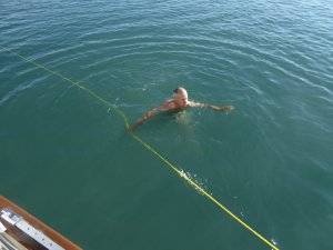 Swimming in current with a tow rope