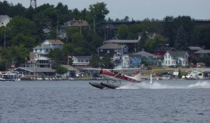 Float plane taking off in Parry Sound