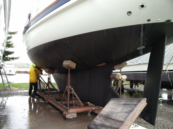 Pouring rain as Steve gets her ready for launch