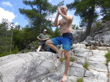 Steve's yoga on the rocks!