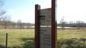 Het nieuwe informatie bord over het Uddelermeer, bij het pad naar de Hunnerschans