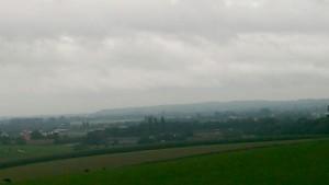 Uitzicht bij regenachtig weer vanaf de Hoge Klauw naar Reichswald