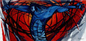 Ted Felen: Kruiswegstatie 12 Jezus sterft aan het kruis Dominicuskerk Nijmegen (19630