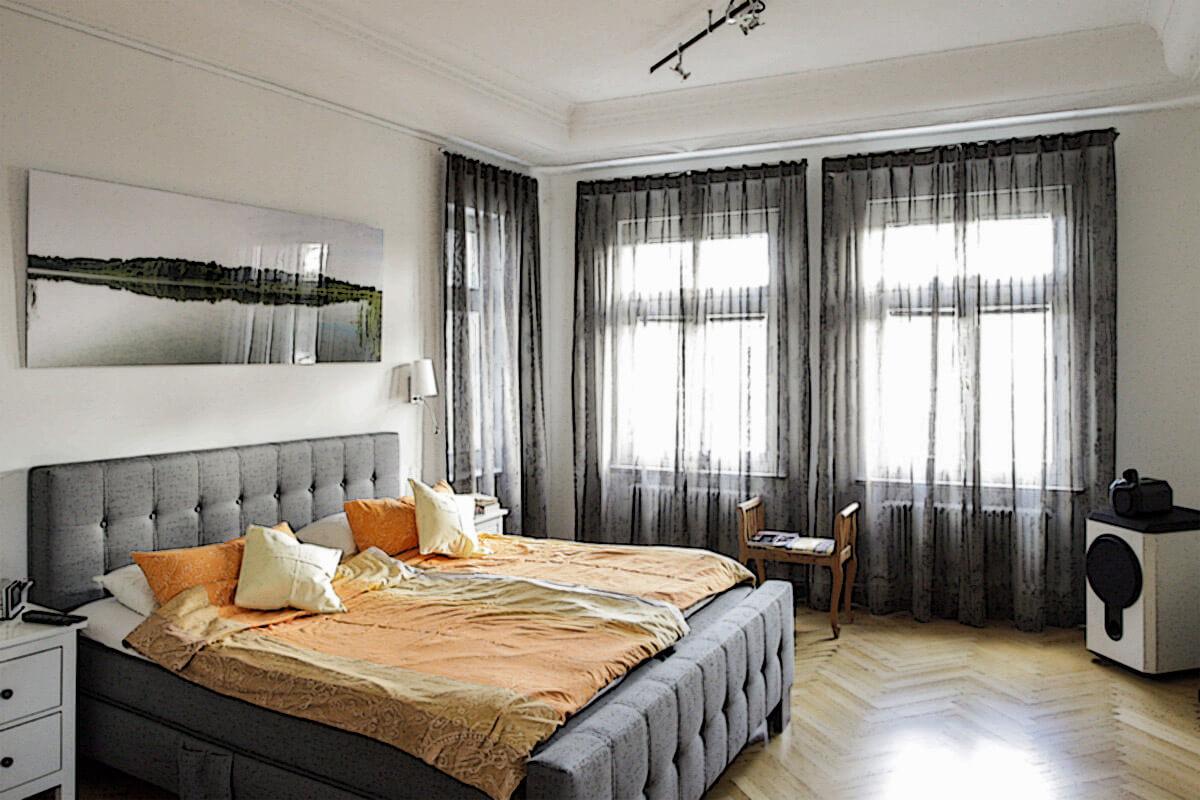 Moderne Schlafzimmer Gardinen  Raumausstatter Berlin