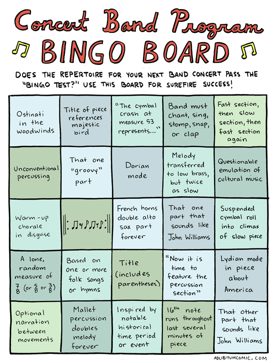 Concert Band Music Bingo
