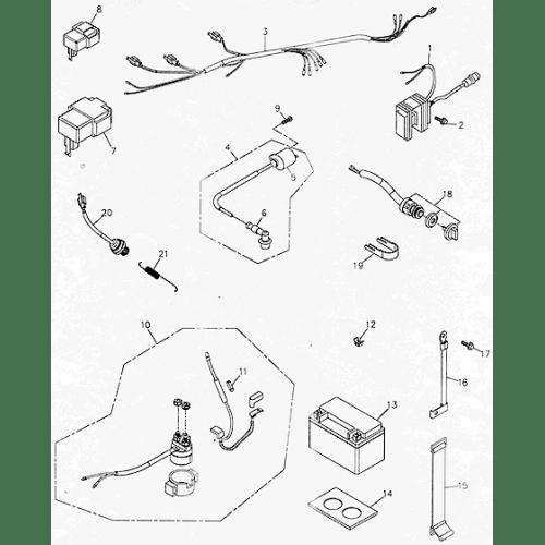 Battery & Main Wire Harness (Adly ATV 300U)
