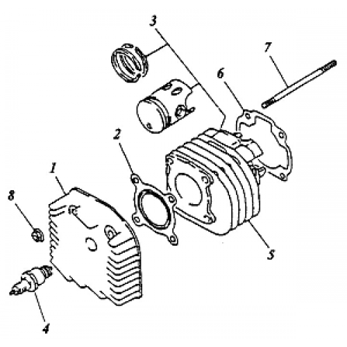 Cylinder, Cylinder Head (Adly ATV 90cc 2T)