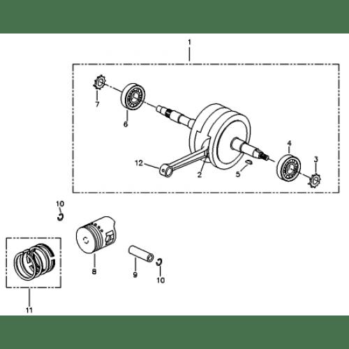 Crankshaft, Piston (Adly ATV 90RV 4T)