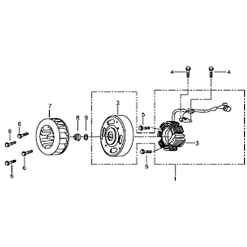 Stator and Flywheel (Silver Fox (4 Stroke))