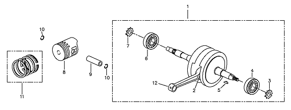 Crank Shaft, Piston (Adly ATV 90II 4T (CVT))