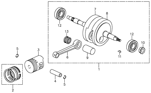 Crankshaft, Piston (Adly ATV 90Z2 4T (Gear Drive))