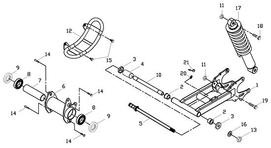 Swing Arm Sub Assy (Adly ATV 150S II CrossXRoad)