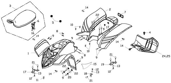Body Cover, Seat (Adly ATV 150S Interceptor)