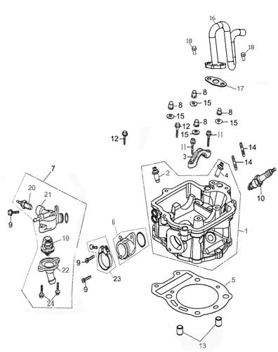 Cylinder Head (Adly ATV Q280)