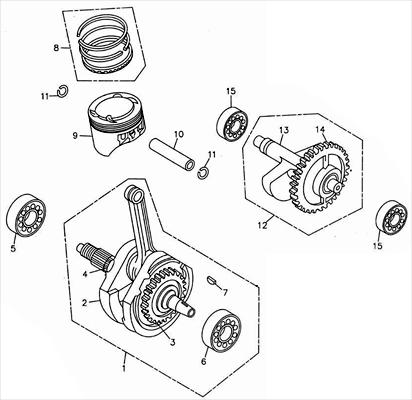 Crankshaft, Piston (Adly ATV 300S Interceptor)