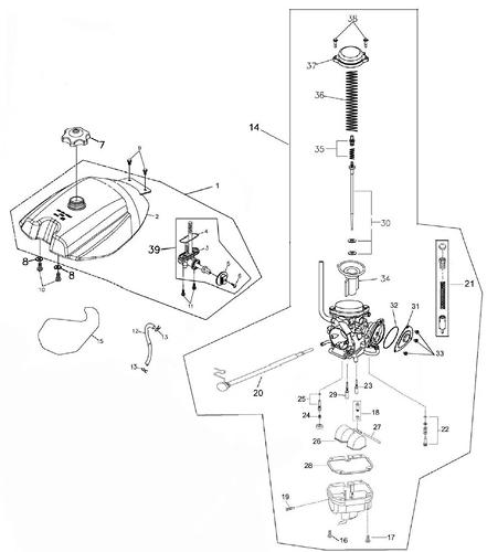 Fuel Tank and Carburetor (Adly ATV 300S Interceptor)