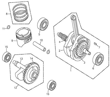 Crank Shaft, Piston (Adly ATV 300U II)