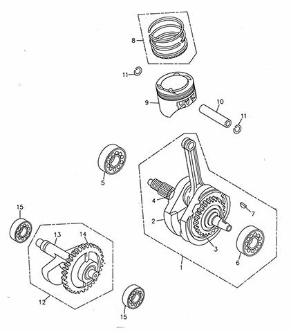 Crank Shaft, Piston (Adly ATV 300U)